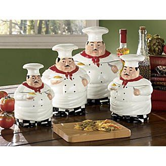 Bistro Fat Chef Canister Set A Bistro Or Chef Theme Is A Favorite In Kitchen Decor Read Details On This Fun Four Canister Set Kitchen Decor
