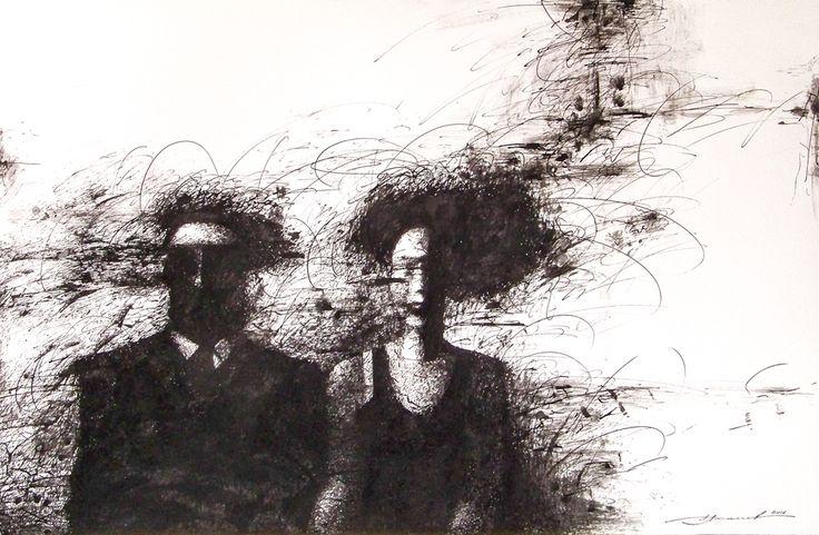 Семейный портрет. бумага, тушь, перо
