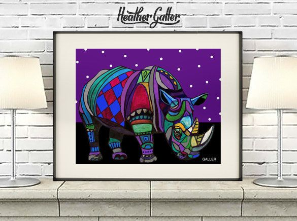 DIGITAL Print File - Rhinoceros Art Rhino Art Print Poster by Heather Galler (HG802)