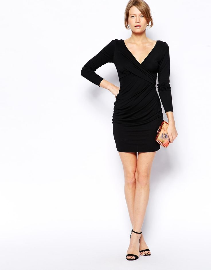 Enlarge Love Ruched Wrap Plunge Neck Bodycon Dress Looks like Balmain