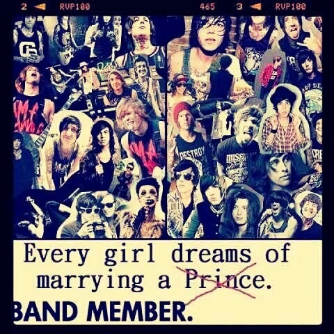 Every girl dreams of marrying a band member.  My first love was a guitarist.  *sigh*