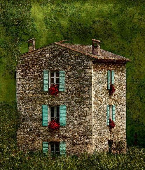 Centuries old stone house with turquoise shutters and flower boxes under each window via: Ana Rosa