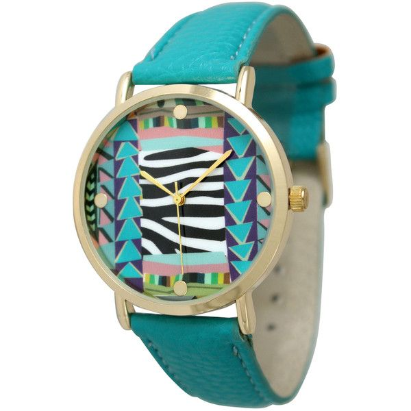 Olivia Pratt Watches Women's Abstract Print Watch (€46) ❤ liked on Polyvore featuring jewelry, watches, green, leather-strap watches, abstract jewelry, analog wrist watch, bezel jewelry and green watches
