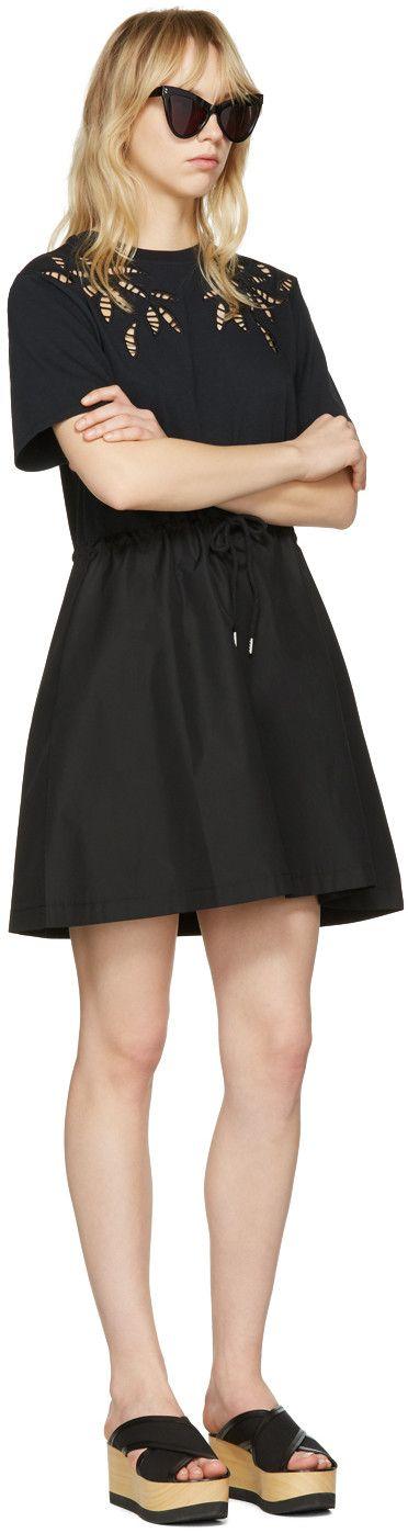 See by Chloé - Black Drawstring T-Shirt Dress