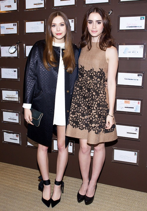 Photo of Elizabeth Olsen  & her friend Lily Collins