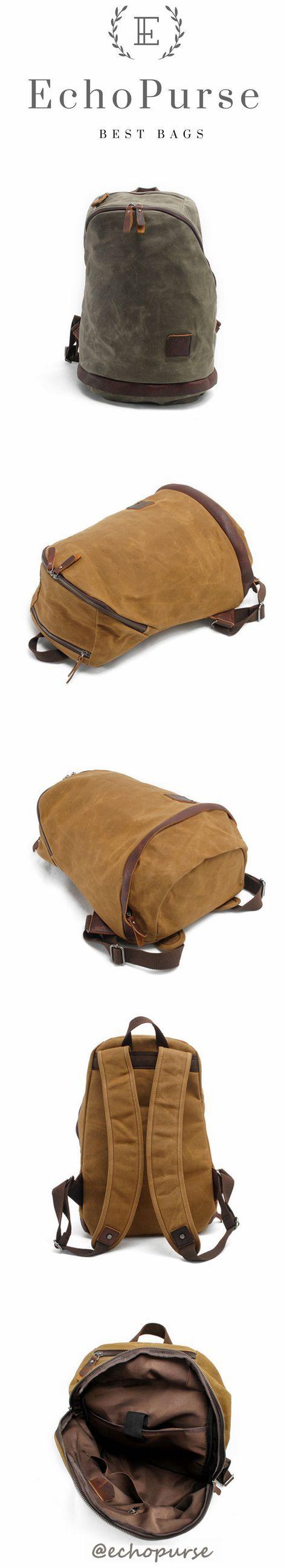 Waxed Canvas Leather Laptop Backpack, Waterproof Rucksack, Rucksack MC038