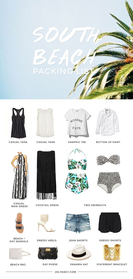 South Beach Packing list with 2 bathing suits - change jean shorts to capris and it works for island getaways too.