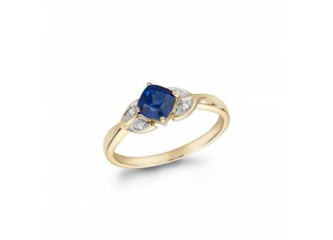 10K Yellow Gold Created Blue #Sapphire and #Diamond #Ring $199.99