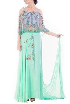Turquoise Green Embellished Croptop & Layered Pallazo Set by Anushree Agarwal, Fusion Suits #indowestern #ethnicwear #ethnic #fusion #western #wedding #shopping #weddingseason #online #bff #bestfriend #bffswedding #cocktail #sangeet #reception #dance #elegant