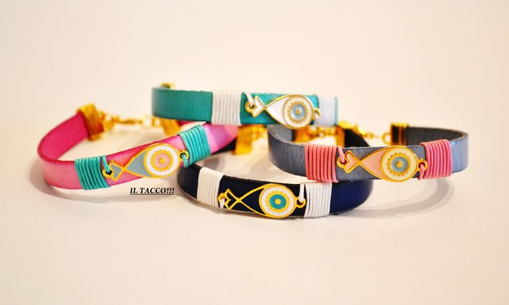Leather bracelets, spring colours, enamel gold fishes, cords!!! Spring time!!! Il Tacco!!!