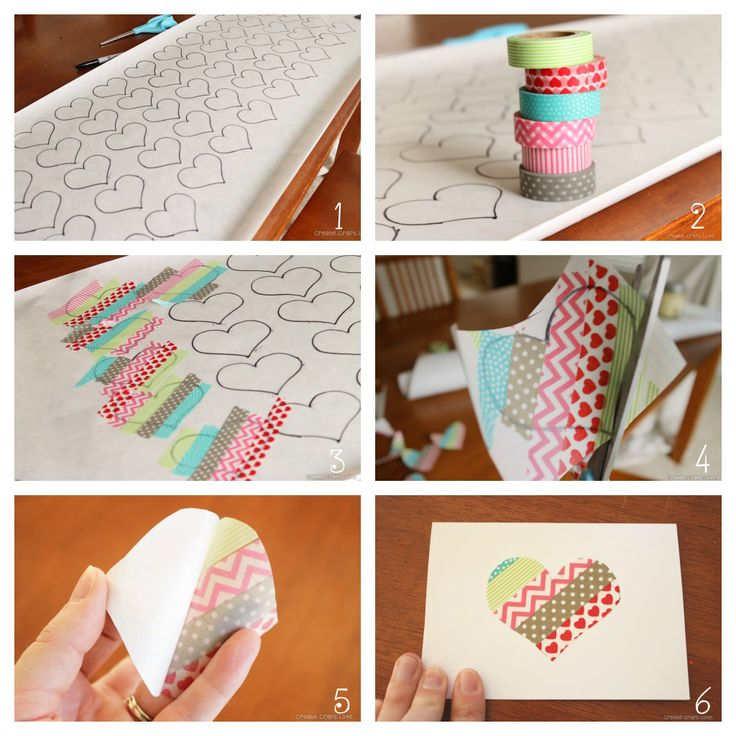 Washi Tape Valentines via createcraftlove.com #valentines #washitape. Washi tape & contact paper