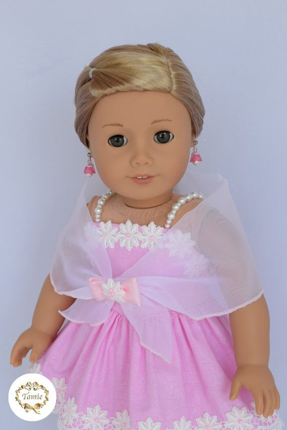 """American girl doll clothes """" Formal dress """" (  3 pieces - Bustier dress, Fomal stole, & Separated cronoline petticoat )"""