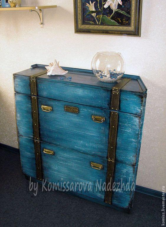 """Купить Тумба для обуви """"Морской сундук""""(декор) - синий, тумба, обувница, мебель для прихожей"""
