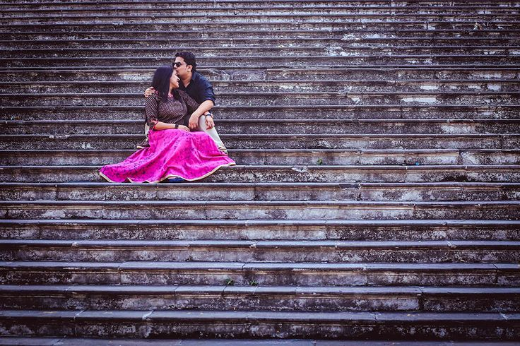 A welcome back to Mumbai theme Pre Wedding photo shoot by The Cheesecake Project for Harshada and Amey of WeddingSutra.