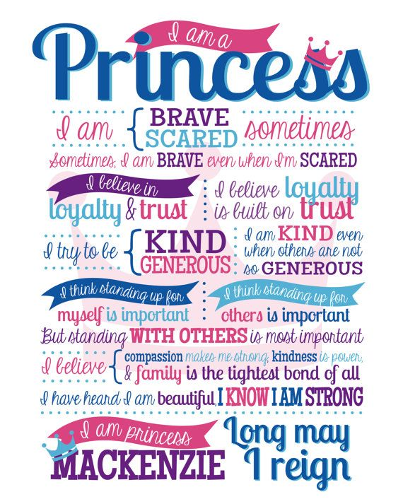 I am a Princess Quote Graphic Wall Art by DesignMolloy on Etsy, $15.00