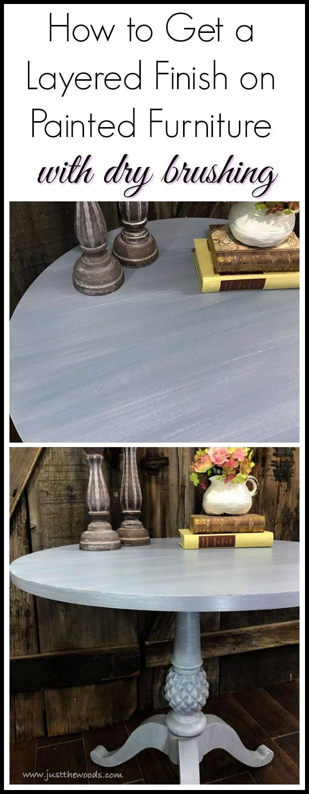 Get a soft layered finish on your painted furniture with a dry brush technique. This painted pedestal table makeover went from dark to light with a few painted layers.