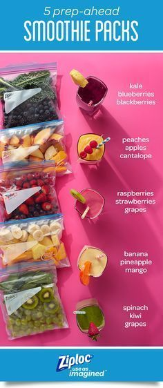 These 5 simple smoothie recipes can be prepped ahead for easy breakfasts and snacks. Store fruits and vegetables in Ziploc® freezer bags to block out air and lock in freshness for fast smoothies when you're short on time. For healthy smoothie packs, mix colorful ingredients like strawberries, raspberries, yogurt, juice, peaches, grapes, pineapple, mango, kiwi, spinach, blueberries, blackberries and kale. Or get creative and make your own DIY freezer smoothie kit recipes. #tastysmothie