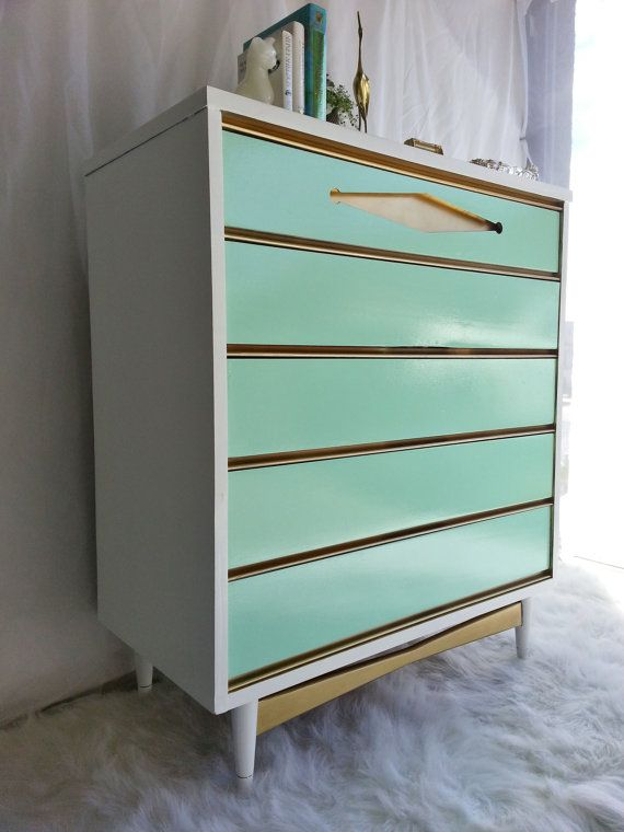 Vintage 1960's Bassett Painted Mid Century Modern Chest of Drawers/Dresser Tiffany Blue/Green With Gold Accents etsy