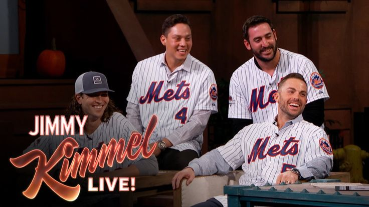 "The New York Mets on Jimmy Kimmel Live - Kimmel, a lifelong Mets fan (like so many other celebrities and funny people), joked around with the players about the aborted Flores trade, pricey World Series tickets (""The only people who can afford to go to a Mets game are Derek Jeter and A-Rod right now"") and the Chase Utley saga (""Someone still has to penalize him for this"") • #LGM #MattHarvey #DavidWright #WilmerFlores #jacobdegrom"