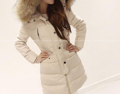 HOT Women Duck Down Coat Slim Long Parka Winter Outwear Fur Collar Hooded Jacket