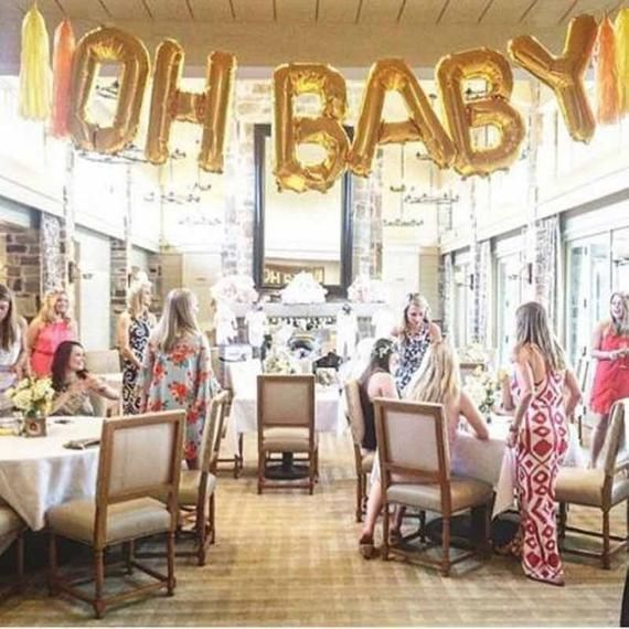 "40″ & 16″ Inch Phrase ""OH BOY"" ""Oh BABY""  ""Oh Babies"" in Gold, Silver Oh baby balloon banner Baby Sh"