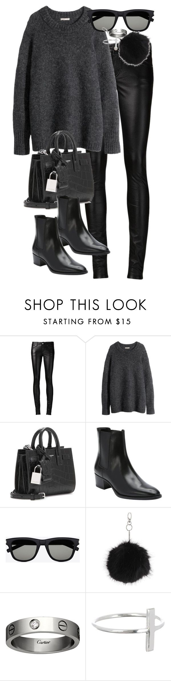 """""""Untitled #2945"""" by angieswardrobe ❤ liked on Polyvore featuring Yves Saint Laurent, H&M, Topshop, Cartier and 32.4"""