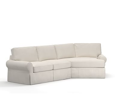 Sleeper Sofas PB Basic Slipcovered Left Arm Angled Chaise Sectional Box Edge Down Blend Wrapped Cushions Brushed Canvas Sage