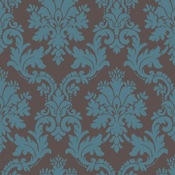 Byron brown teal damask wallpaper teal wallpaper for B q bedroom wallpaper designs