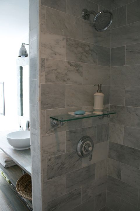 marble tiles from Lowes cut in half and installed in brick pattern @ southern exposure