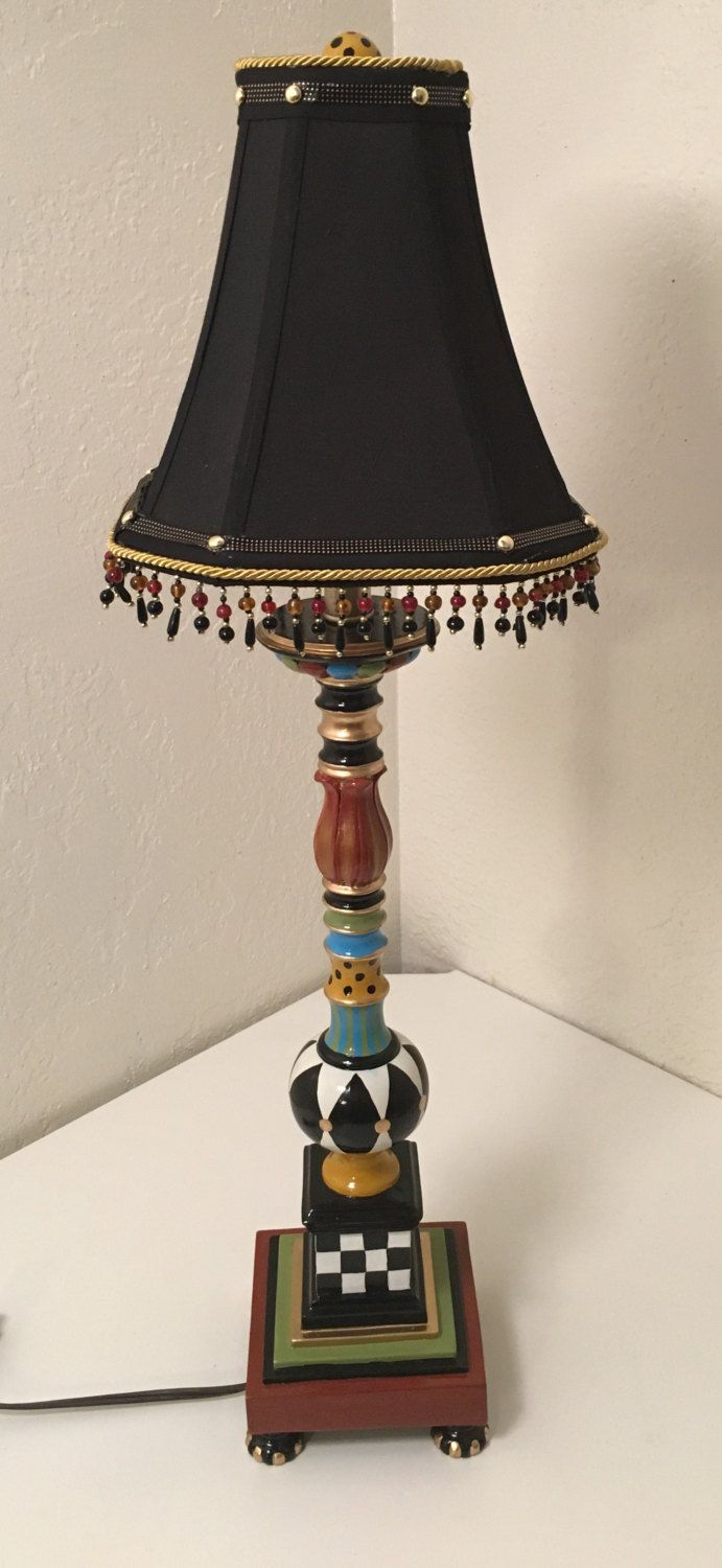 Whimsical Mackenzie Childs Inspired Tall Accent Lamp Black White Checked OOAK by WhiteRabbittDesigns on Etsy