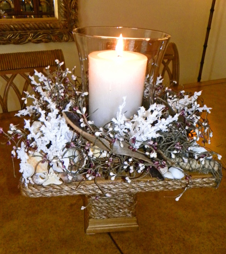 Nautical Decor Centerpieces: Beach Nautical Candle Holder Hurricane Table Centerpiece