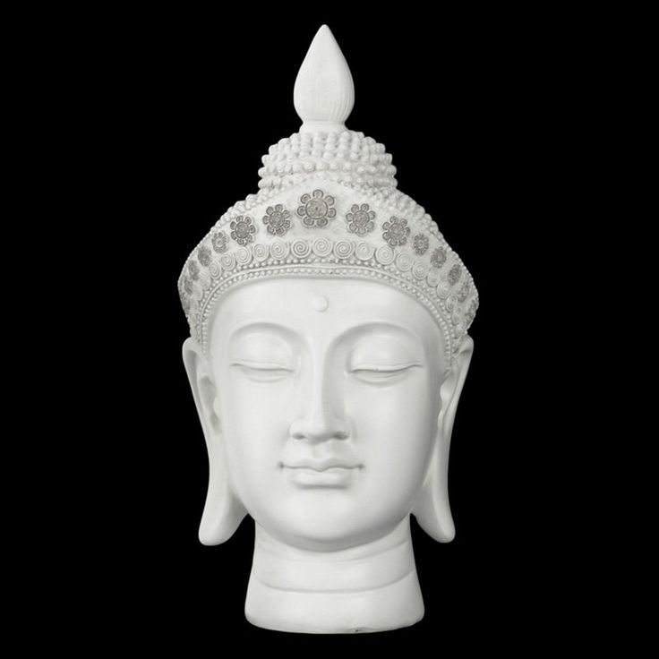 Urban Trends Collection Resin Buddha Head Sculpture with Floral Head Gear - Gloss Cream White - 33414