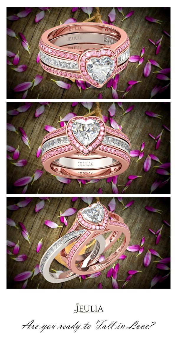 Jeulia Interchangeable Halo Heart Cut Created White Sapphire Wedding Set #Jeulia
