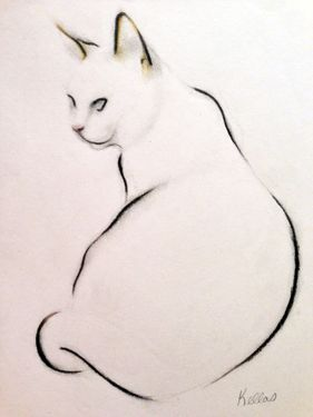 Pencil and charcoal pencil, with a touch of pastel to hint at the cat's subtle colouring..