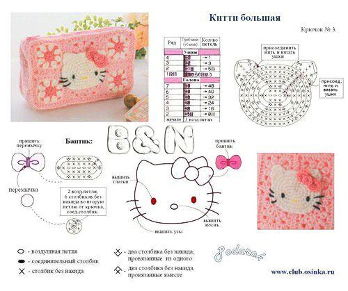 Aplique da Hello Kitty de crochê