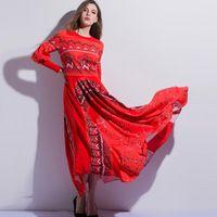 2017 Весной И Летом Элегантный Ретро Впп Dress Мода Птицы Летают Напечатаны Шить Ретро Фонарь Рукава Макси Длинные Платья