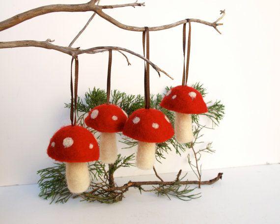 Hanging Toadtool Ornaments 4 red mushroom decoration woodland tree handmade nature white Hanging Aice in Wonderlandteamt. $28.00, via Etsy.