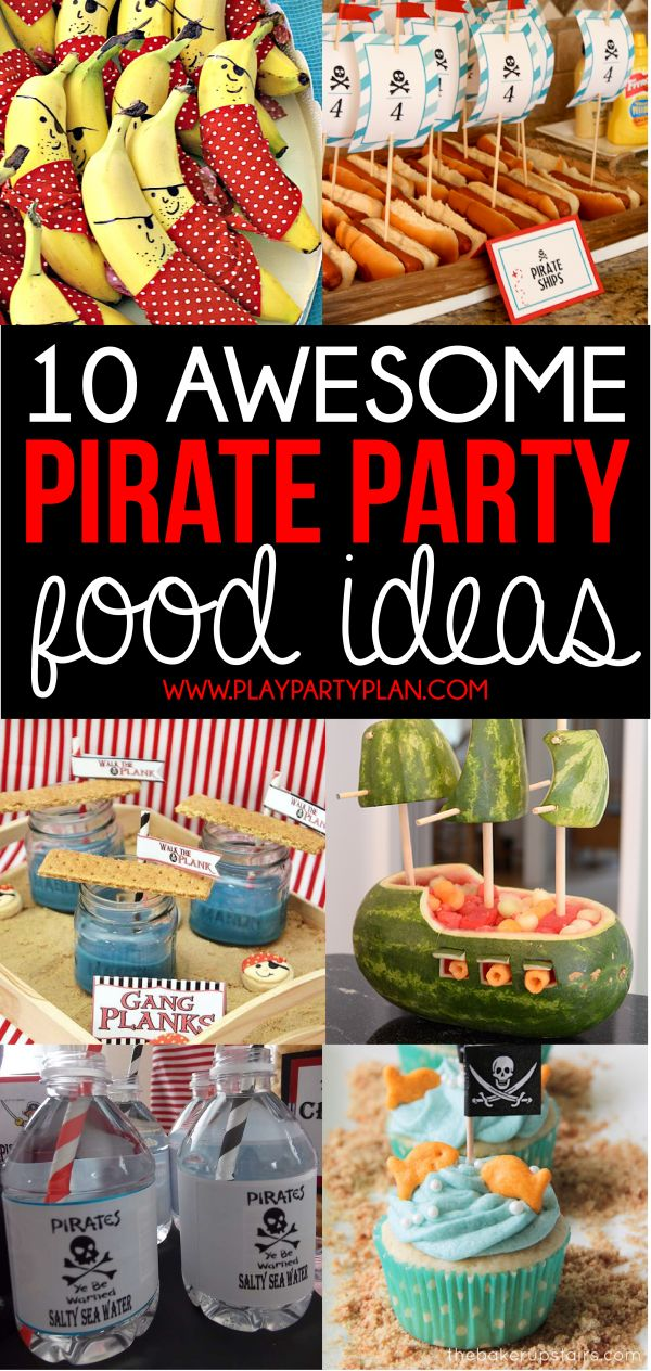 Awesome pirate party food ideas including everything from easy store-bought items to homemade pirate food ideas! Perfect pirate party ideas for any age!