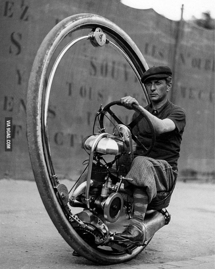 Italian inventor Davide Cislaghi driving his monowheel motorcycle in France 1933 - 9GAG