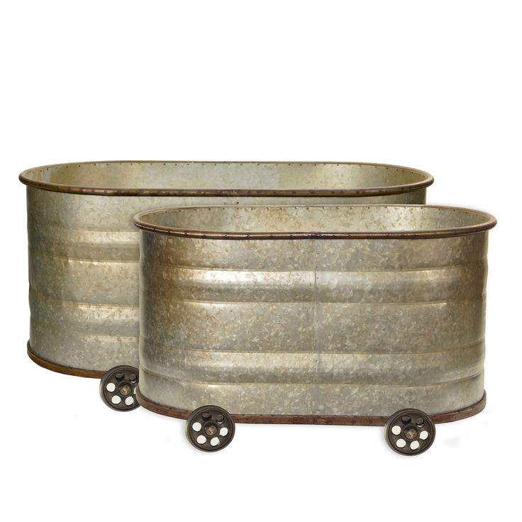 International Metal Watering Troughs (Set of 2) (Water Trough Planter Cans SET OF 2), Multi #EA1572