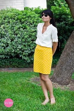 white top + yellow dot pencil skirt
