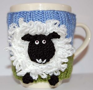 KNITTING PATTERN Amos Sheep Lamb Animal Farm Yard DK Yarn Mug Cup Cosy Warmer