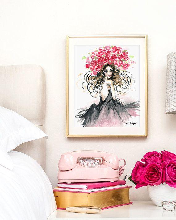 Fashion Illustration Watercolor // Girly Art Print // Girl