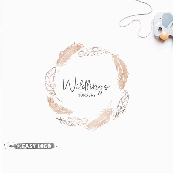 Boho Feathers Logo Design. Premade Wreath Template. by easylogo