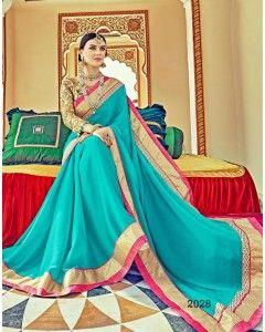Blue Satin Silk Partywear Saree