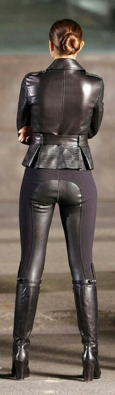 Multimedia black leather riding pants bottom, black leather peplum jacket and black leather boots