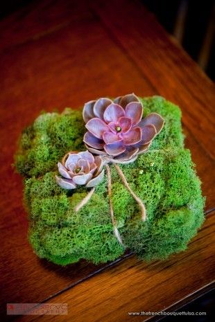 Green Moss and Purple Succulent Ring Bearer Pillow - Zinke Design - The French Bouquet - Ace Cuervo Photography