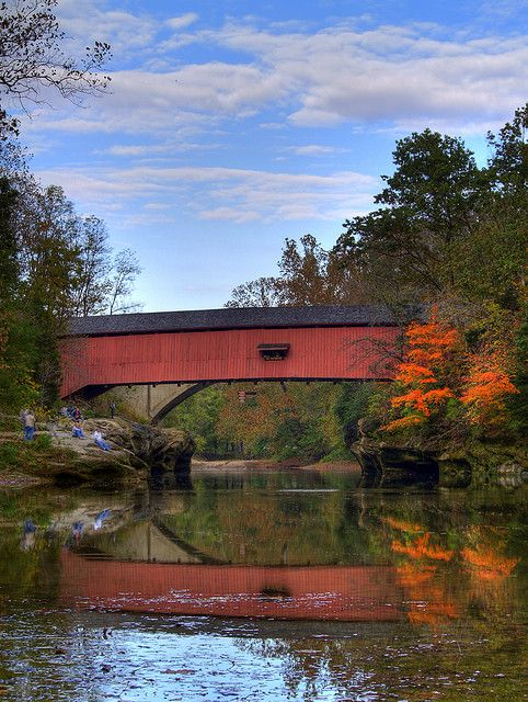Covered Bridge, Turkey Run State Park, Indiana   This is the Narrows covered bridge, - my favorite covered bridge!  Over Sugar Creek.  Take a dip!