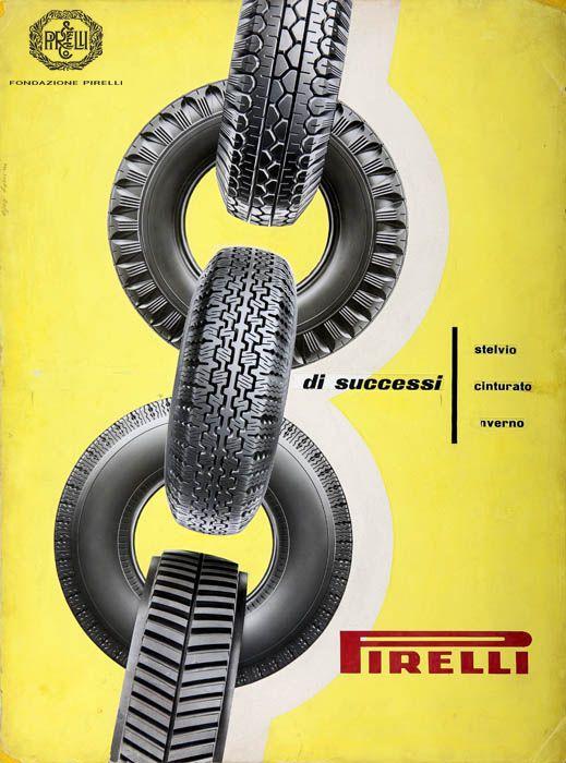 "Ezio Bonini dla Pirelli ""Stelvio"", ""Cinturato"" oraz ""Inverno"" - 1954 #opony #motointegrator #starereklamy #50s http://www.fondazionepirelli.org"