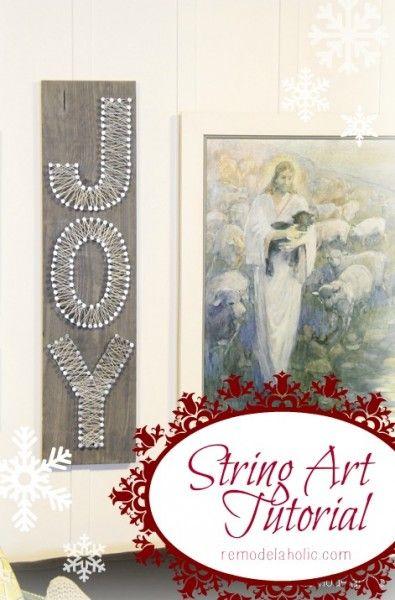 String Art Tutorial - Joy Sign Christmas Art #12days72ideas @Remodelaholic .com .com #christmas #art